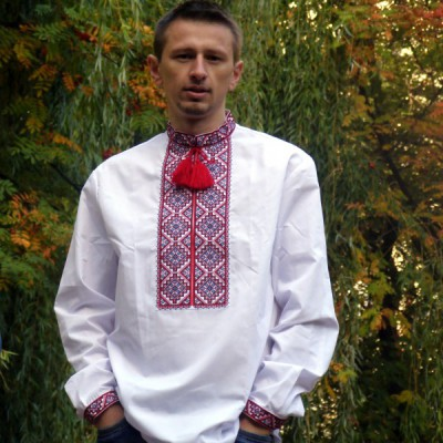 """Embroidered shirt """"Red on White"""""""
