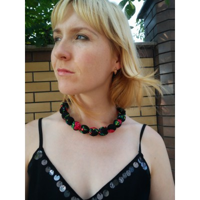 "Wooden Necklace ""Scarf"" black"