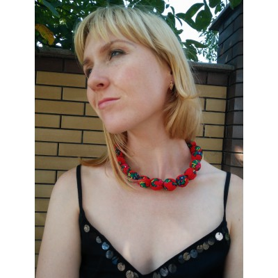 "Wooden Necklace ""Scarf"" red"