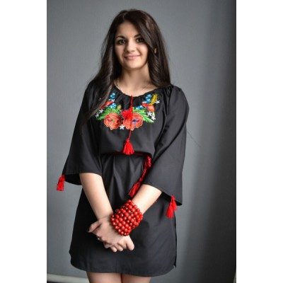 "Embroidered  blouse ""Poppies in Night"""