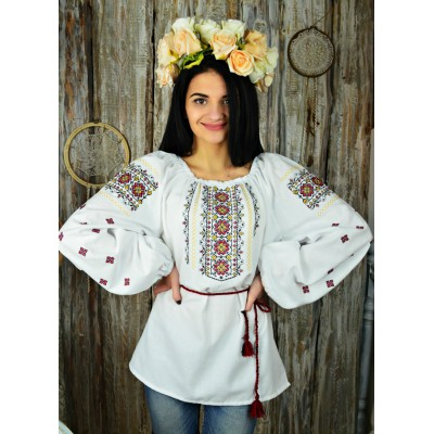 "Embroidered blouse ""Flowers of Glory Red"""