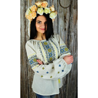 "Embroidered blouse ""Flowers of Glory Yellow&Blue"""