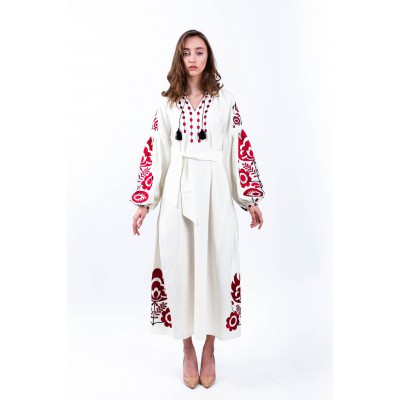 "Embroidered Boho Dress ""White Story"""