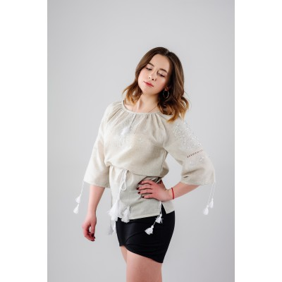 "Embroidered Blouse ""Fog in a Valley"" handmade"
