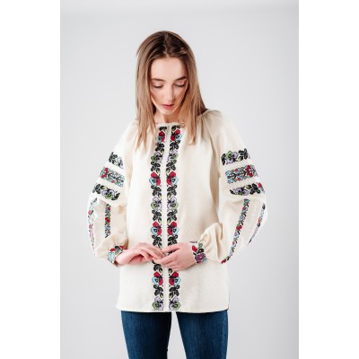 "Embroidered Blouse ""Flower Path"""