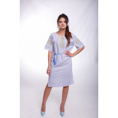 "Embroidered Classic Dress ""Rose Garden"" Light Gray"
