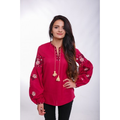 "Embroidered Blouse ""Bohemian Roses"" mauve"